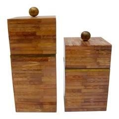 Set of Two Maitland Smith Tessellate Bone Boxes