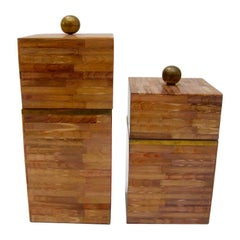 Set of Two Maitland Smith Tessellate Bone Boxes