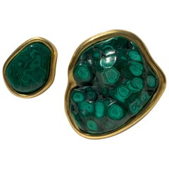 Set of Two Malachite and Gold Paper Weights