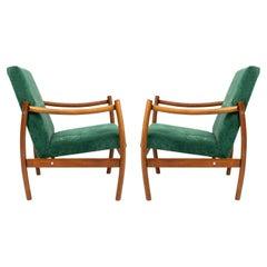 Set of Two Mid-20th Century Vintage Armchairs, Dark Green Velvet, Europe, 1960s