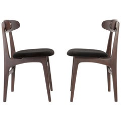 Set of Two Mid Century Black Velvet Chairs, 1960s