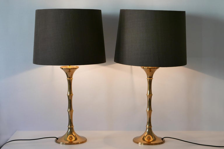 Set of two elegant Mid-Century Modern brass bamboo table lamps. Model 'ML 1'. Designed by Ingo Maurer, 1968 for Design M, Munich, Germany.