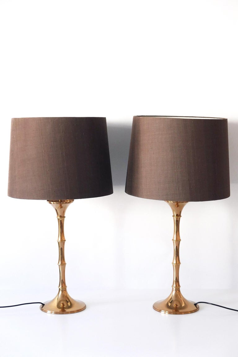 Mid-Century Modern Set of Two Midcentury Brass Bamboo Table Lamps ML1 by Ingo Maurer, 1968, Germany For Sale
