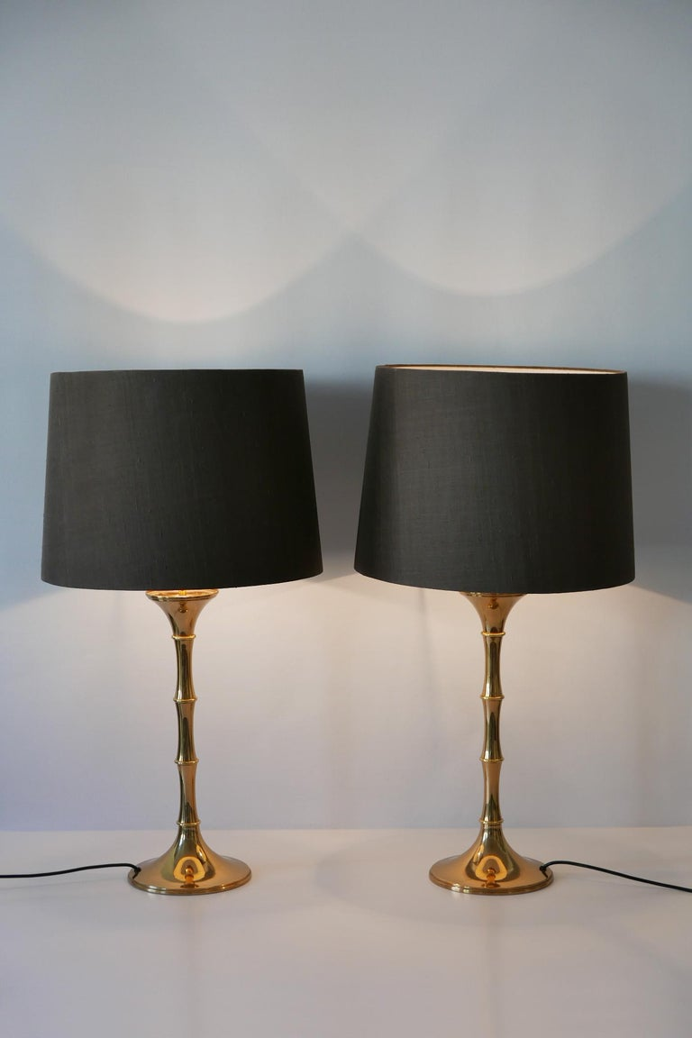 Set of Two Midcentury Brass Bamboo Table Lamps ML1 by Ingo Maurer, 1968, Germany In Good Condition For Sale In Munich, DE