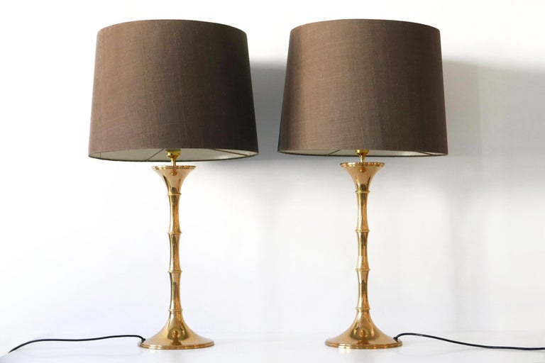 Mid-20th Century Set of Two Midcentury Brass Bamboo Table Lamps ML1 by Ingo Maurer, 1968, Germany For Sale