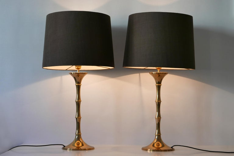 Set of Two Midcentury Brass Bamboo Table Lamps ML1 by Ingo Maurer, 1968, Germany For Sale 1