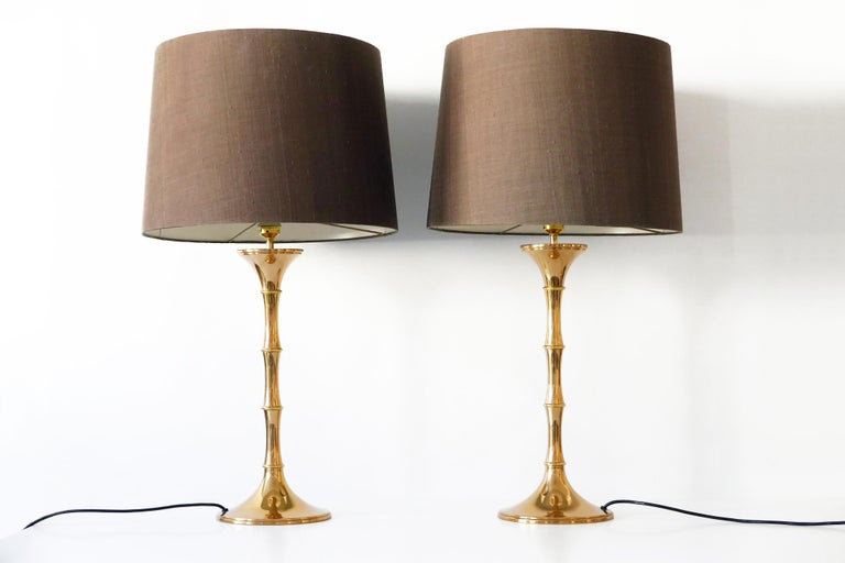 Set of Two Midcentury Brass Bamboo Table Lamps ML1 by Ingo Maurer, 1968, Germany For Sale 2