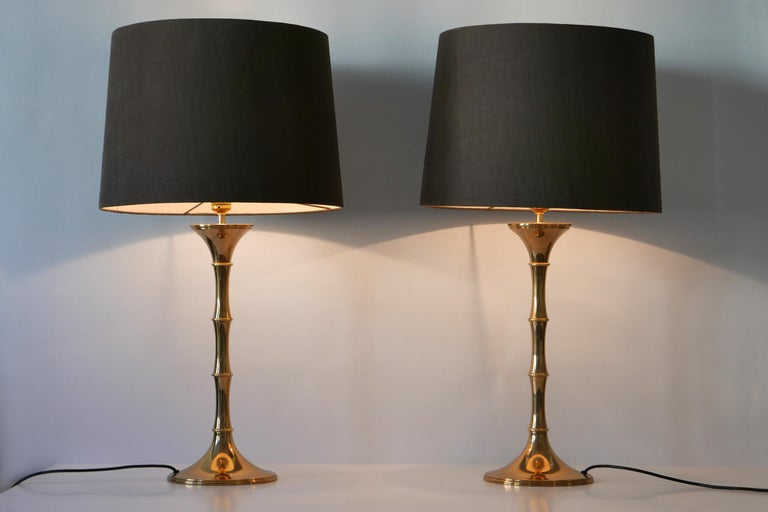 Set of Two Midcentury Brass Bamboo Table Lamps ML1 by Ingo Maurer, 1968, Germany For Sale 3