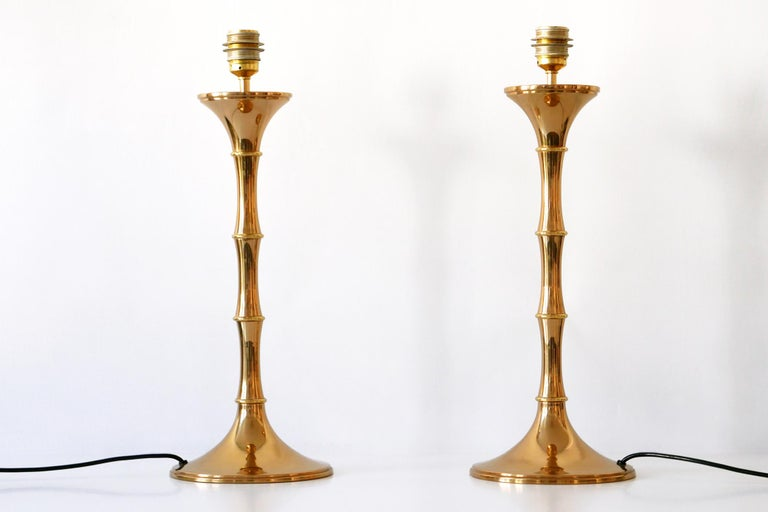 Set of Two Midcentury Brass Bamboo Table Lamps ML1 by Ingo Maurer, 1968, Germany For Sale 4