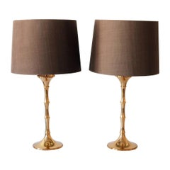 Set of Two Midcentury Brass Bamboo Table Lamps ML1 by Ingo Maurer, 1968, Germany