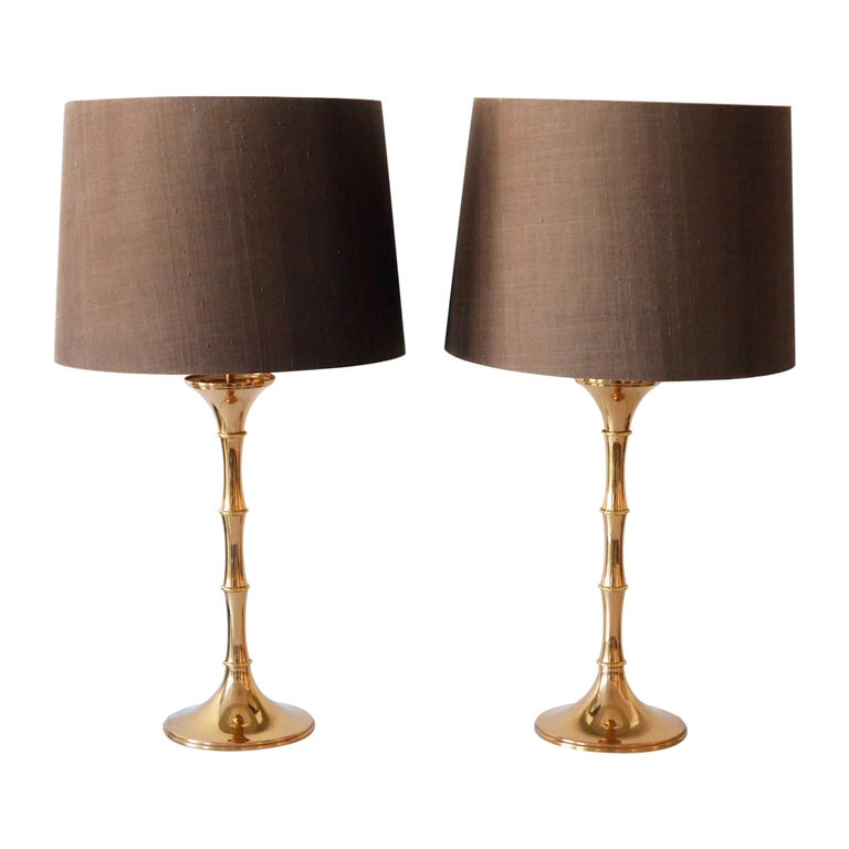 Set of Two Midcentury Brass Bamboo Table Lamps ML1 by Ingo Maurer, 1968, Germany For Sale