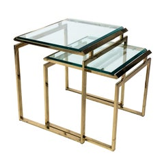 Set of Two Midcentury Brass Nesting Tables