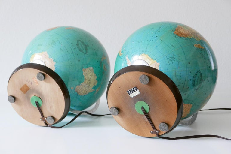 Set of Two Midcentury Columbus Duo Earth Globes or Side Table Lamps, 1960s For Sale 7
