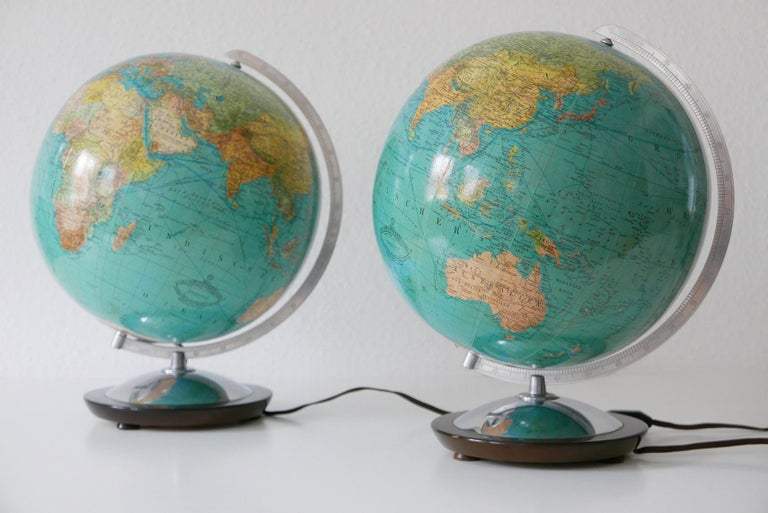 German Set of Two Midcentury Columbus Duo Earth Globes or Side Table Lamps, 1960s For Sale
