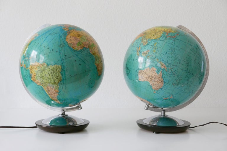 Glass Set of Two Midcentury Columbus Duo Earth Globes or Side Table Lamps, 1960s For Sale