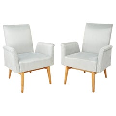 Set of Two Mid-Century Modern Baby Blue Velvet Club Armchairs, 1960s