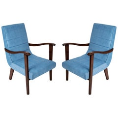 Set of Two Mid-Century Modern Blue Armchairs by Prudnik Factory, 1960s, Poland
