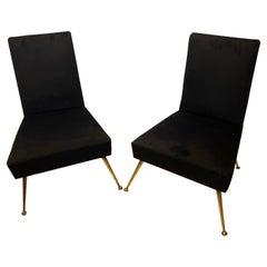 Set of Two Mid-Century Modern Brass and Black Velvet Italian Armchairs