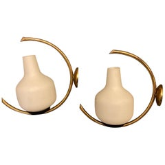 Set of Two Mid-Century Modern Brass and Glass Italian Wall Sconces, circa 1950