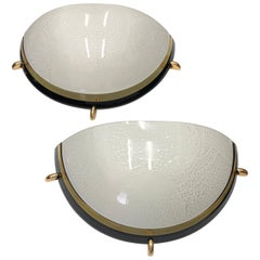 Set of Two Mid-Century Modern Brass and Glass Italian Wall Sconces, circa 1970