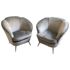 Set of Two Mid-Century Modern Brass and Velvet Italian Armchairs, circa 1950