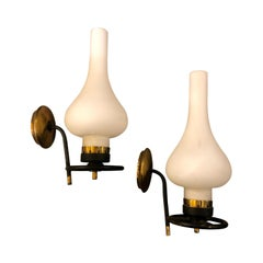 Set of Two Mid-Century Modern Brass and White Glass Wall Sconces, circa 1950