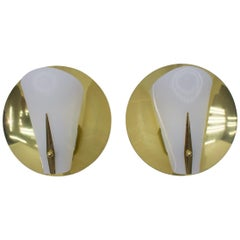Set of Two Mid-Century Modern Brass Wall Lamps or Sconces, 1950s