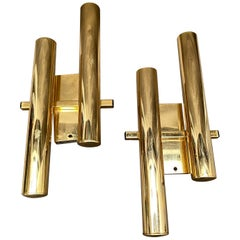 Set of Two Mid-Century Modern Brass Wall Sconces by Gaetano Sciolari, circa 1960
