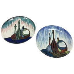 Set of Two Mid-Century Modern Ceramic Italian Mural Plates by Ariston circa 1960