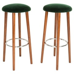Set of Two Mid-Century Modern Dark Green Bar Stools, 1960s