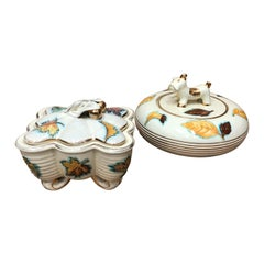 Set of Two Mid-Century Modern Deruta Ceramic Italian Boxes, circa 1960