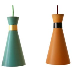 Set of Two Mid-Century Modern Diabolo Pendant Lamps by Bünte & Remmler, 1950s