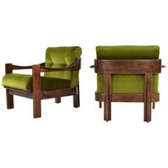 Set of Two Mid-Century Modern Green Velvet Armchairs AG Barcelona, Spain, 1970