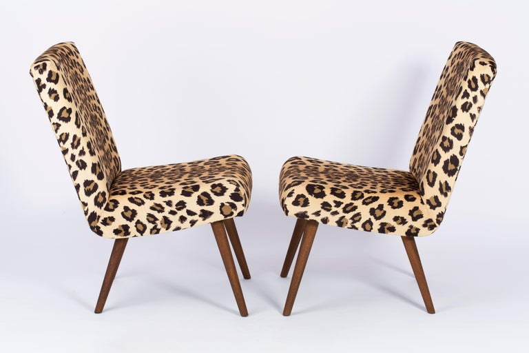 Polish Set of Two Mid-Century Modern Leopard Print Chairs, 1960s, Germany For Sale