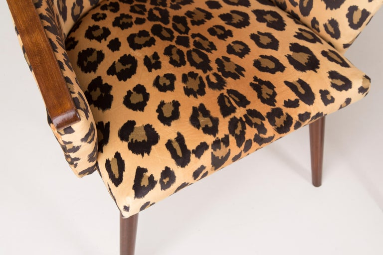 Hand-Crafted Set of Two Mid-Century Modern Leopard Print Chairs, 1960s, Germany For Sale