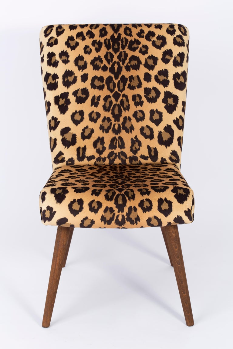 Velvet Set of Two Mid-Century Modern Leopard Print Chairs, 1960s, Germany For Sale