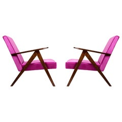 Set of Two Mid-Century Modern Magenta Pink Armchairs, 1960s, Poland