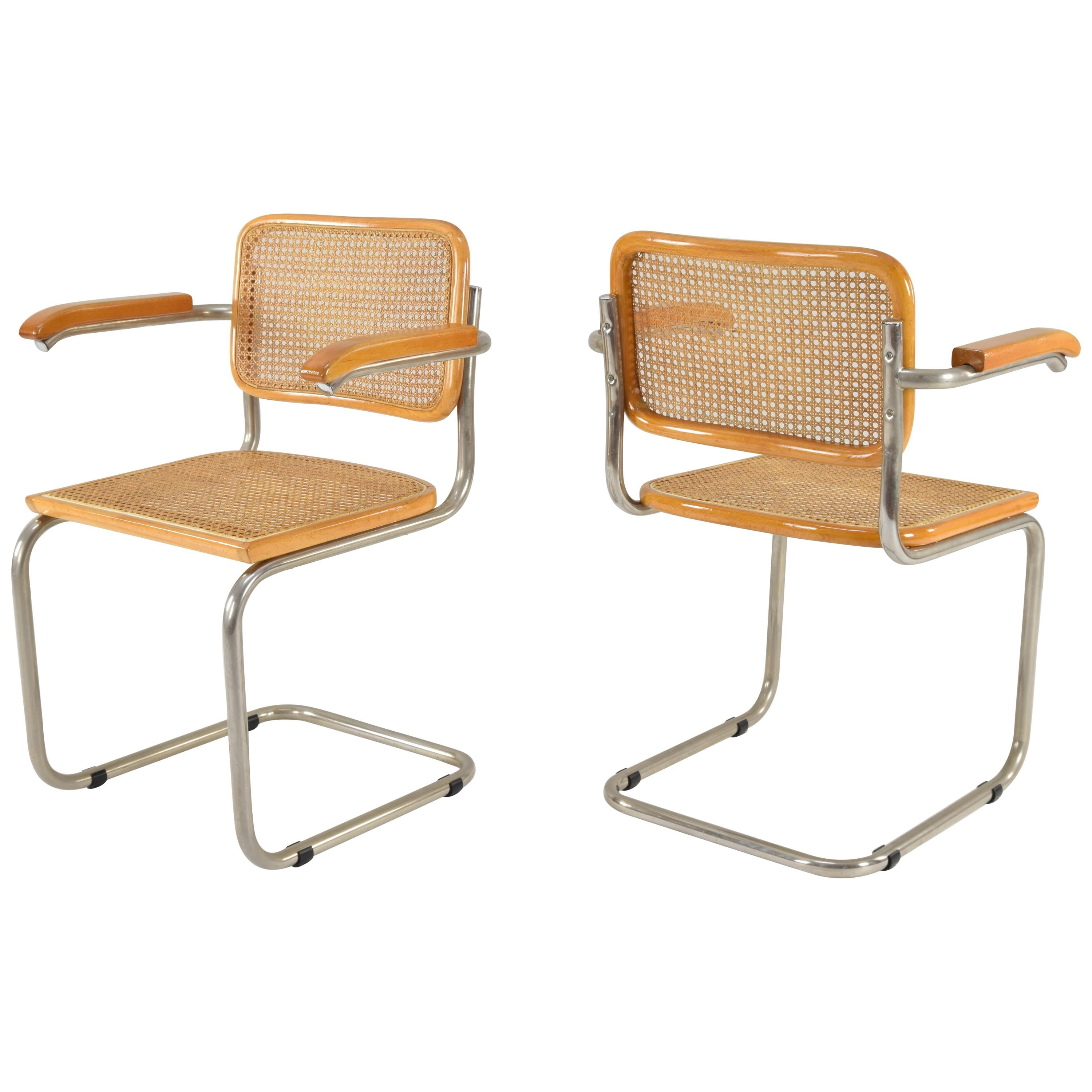 Set of Two Mid-Century Modern Marcel Breuer B64 Cesca Chairs, Italy, 1970