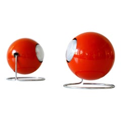 Set of Two Mid-Century Modern Metal 'Eye' Table Lamps, ERCO, 1960s-1970s Germany
