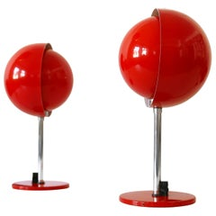 Set of Two Mid-Century Modern Moon Table Lamps by Hustadt-Leuchten 1960s Germany