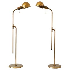 Set of Two Mid-Century Modern Reading Floor Lamps 'Bola' by Florian Schulz 1970s