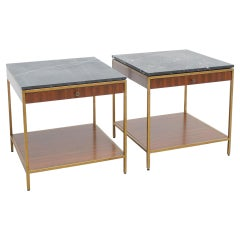 Set of Two Mid-Century Modern Side Tables in Wood and Marble