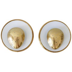 Set of Two Mid-Century Modern Sputnik Brass Wall Lamps or Sconces, 1950s, France