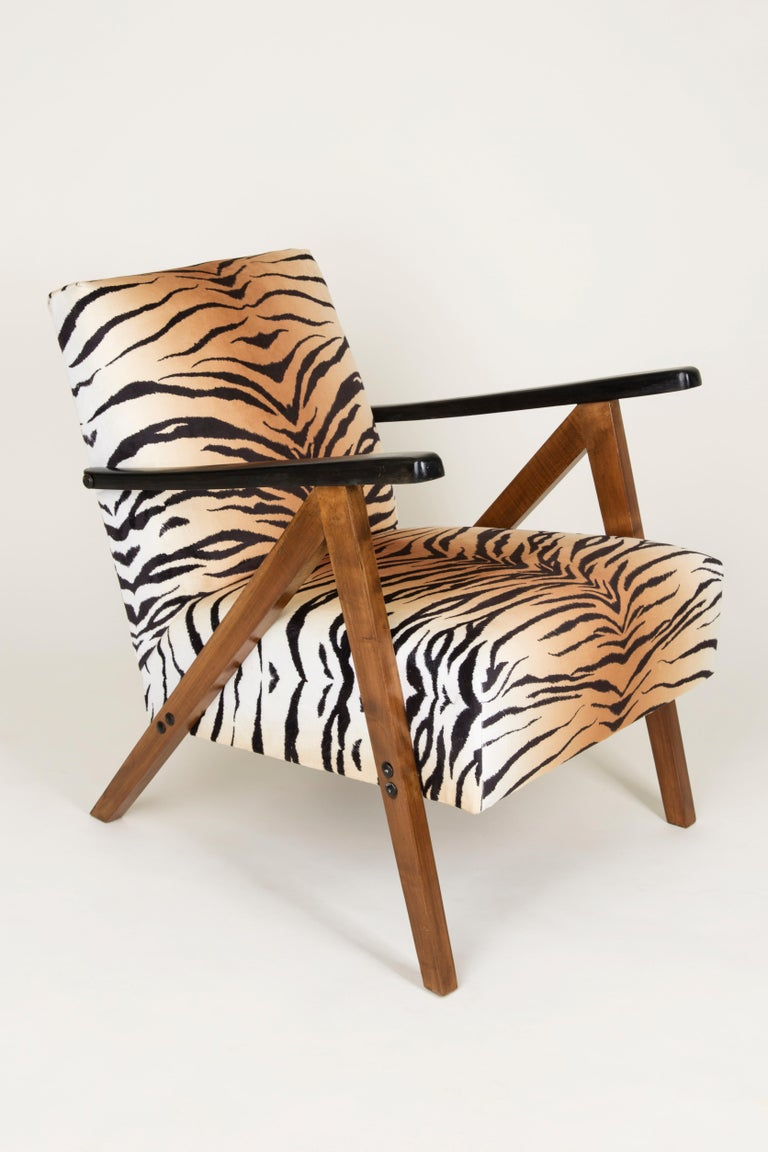 20th Century Set of Two Mid-Century Modern Tiger Print Armchairs, 1960s, Germany For Sale