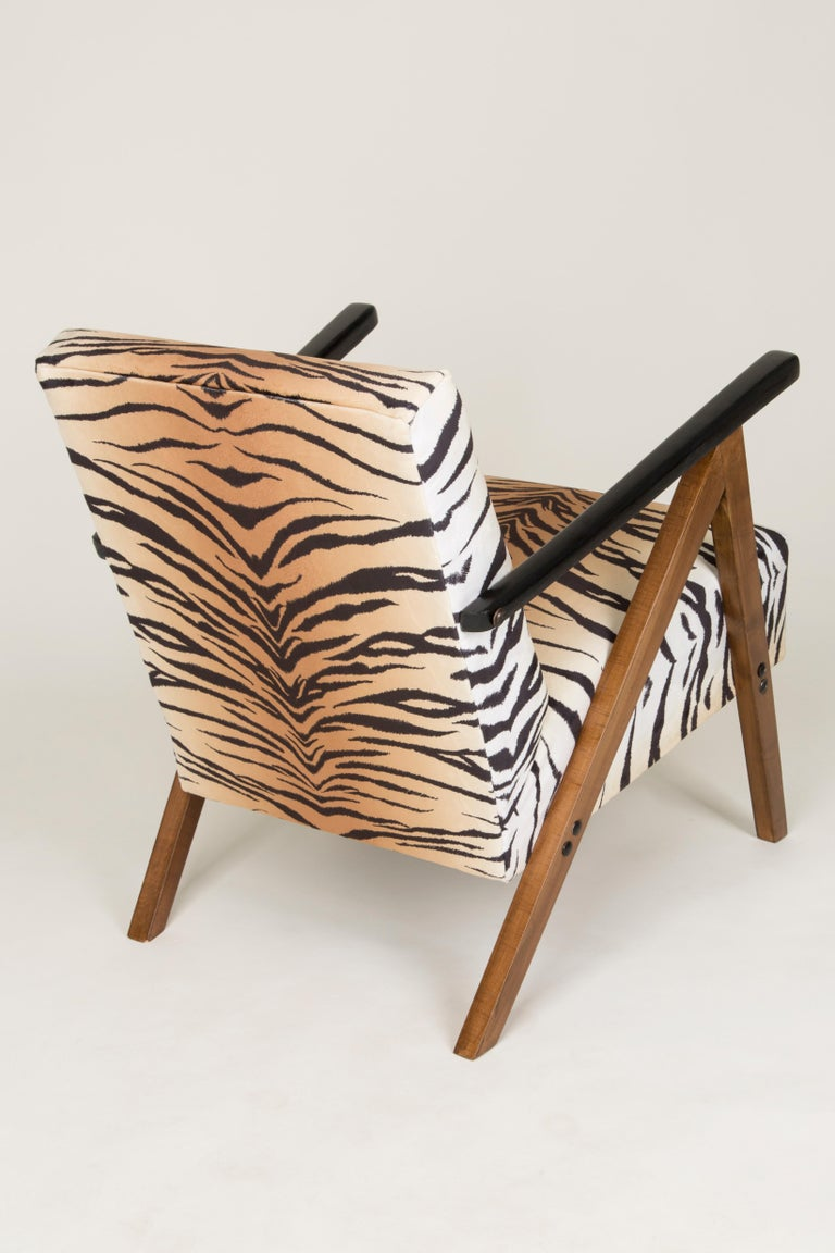 Set of Two Mid-Century Modern Tiger Print Armchairs, 1960s, Germany For Sale 1