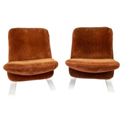 Set of Two Mid-Century Modern Velvet Brown Lounge Chairs by Pierre Paulin, 1970s