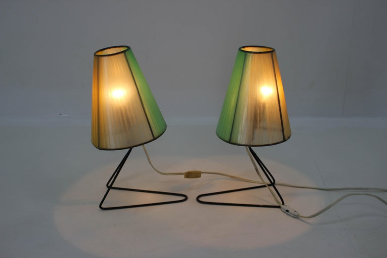 Mid-Century Modern Set of Two Midcentury Table or Bedside Lamps, 1960 For Sale