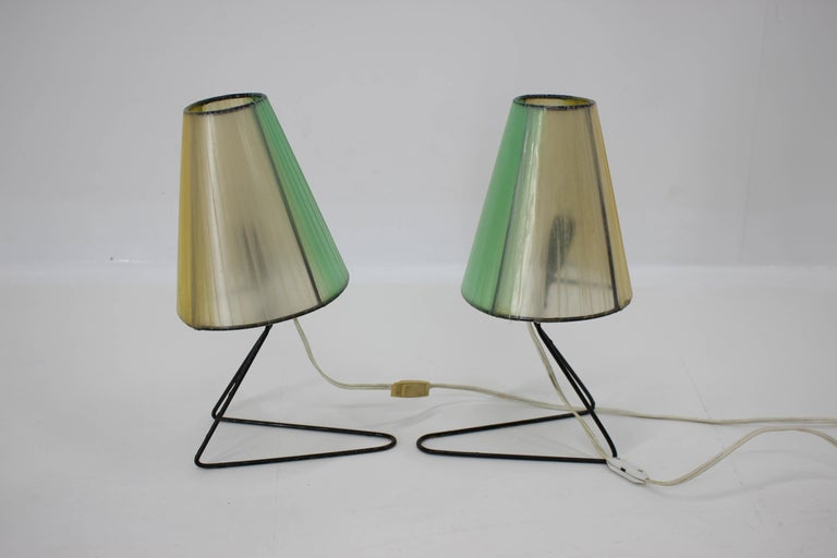 Czech Set of Two Midcentury Table or Bedside Lamps, 1960 For Sale