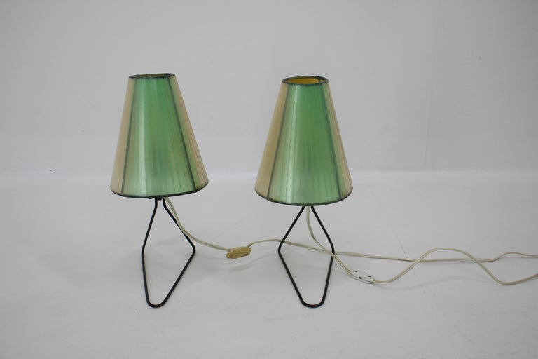 Set of Two Midcentury Table or Bedside Lamps, 1960 In Good Condition For Sale In Praha, CZ