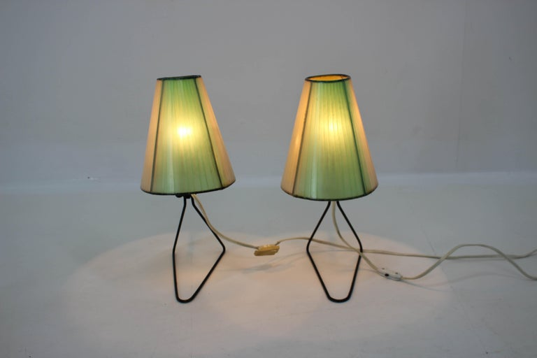 Mid-20th Century Set of Two Midcentury Table or Bedside Lamps, 1960 For Sale